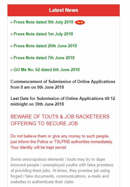 tslprb SI hall tickets 2018 instructions