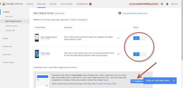 Bagaimana cara mengaktifkan Iklan Tingkat Laman / Page-Level Ads