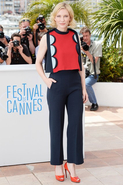 Cate Blanchett in a Delpozo outfit with red Roger Vivier heels at Cannes 2014