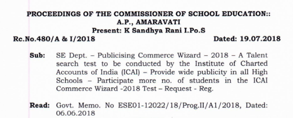 Publicising Commerce Wizard – 2018 – A Talent search test to be conducted by the Institute of Charted Accounts of India (ICAI) – Provide wide publicity in all High Schools – Participate more no. of students