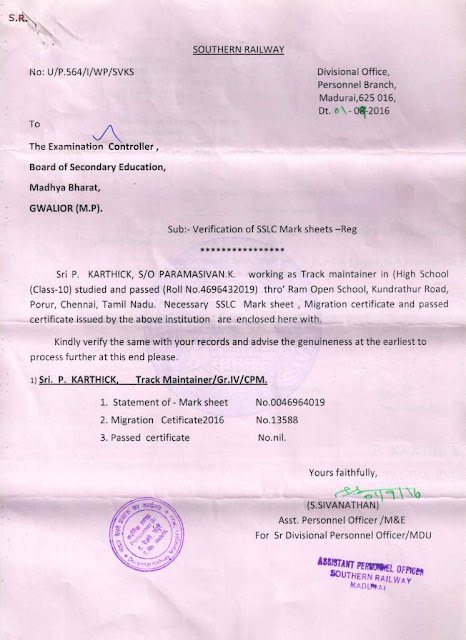 Board of secondary education madhya bharat gwalior mp bse gwalior receives verification letter from southern railway yelopaper Choice Image