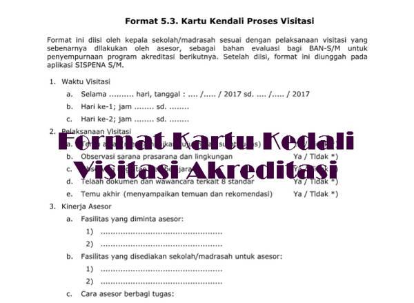 Format Kartu Kedali Visitasi Akreditasi