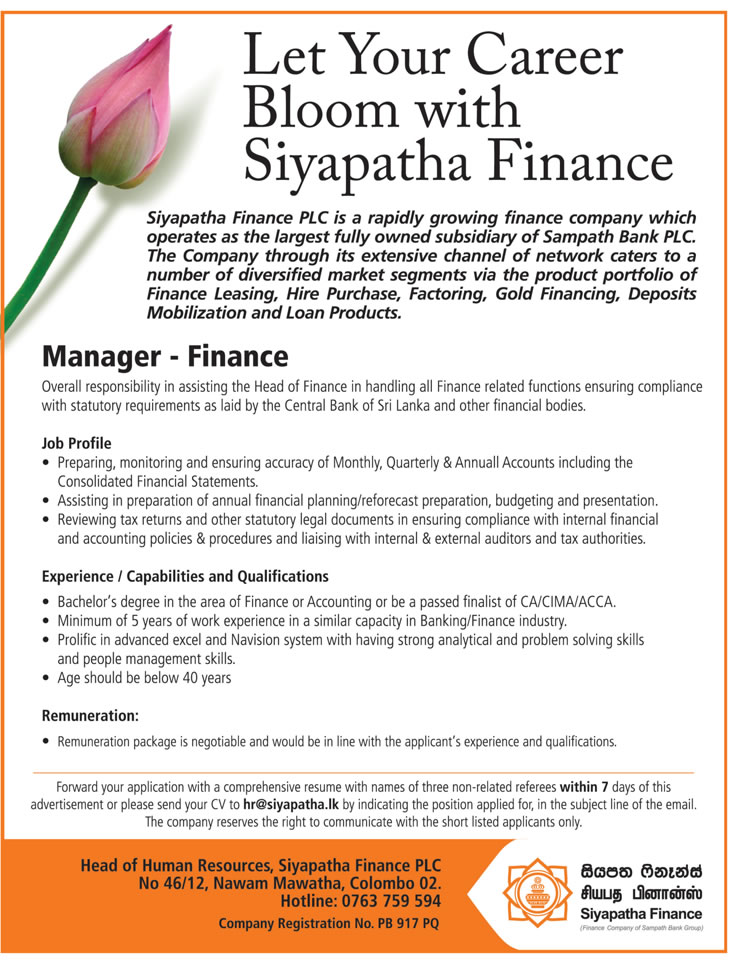 Manager - Finance