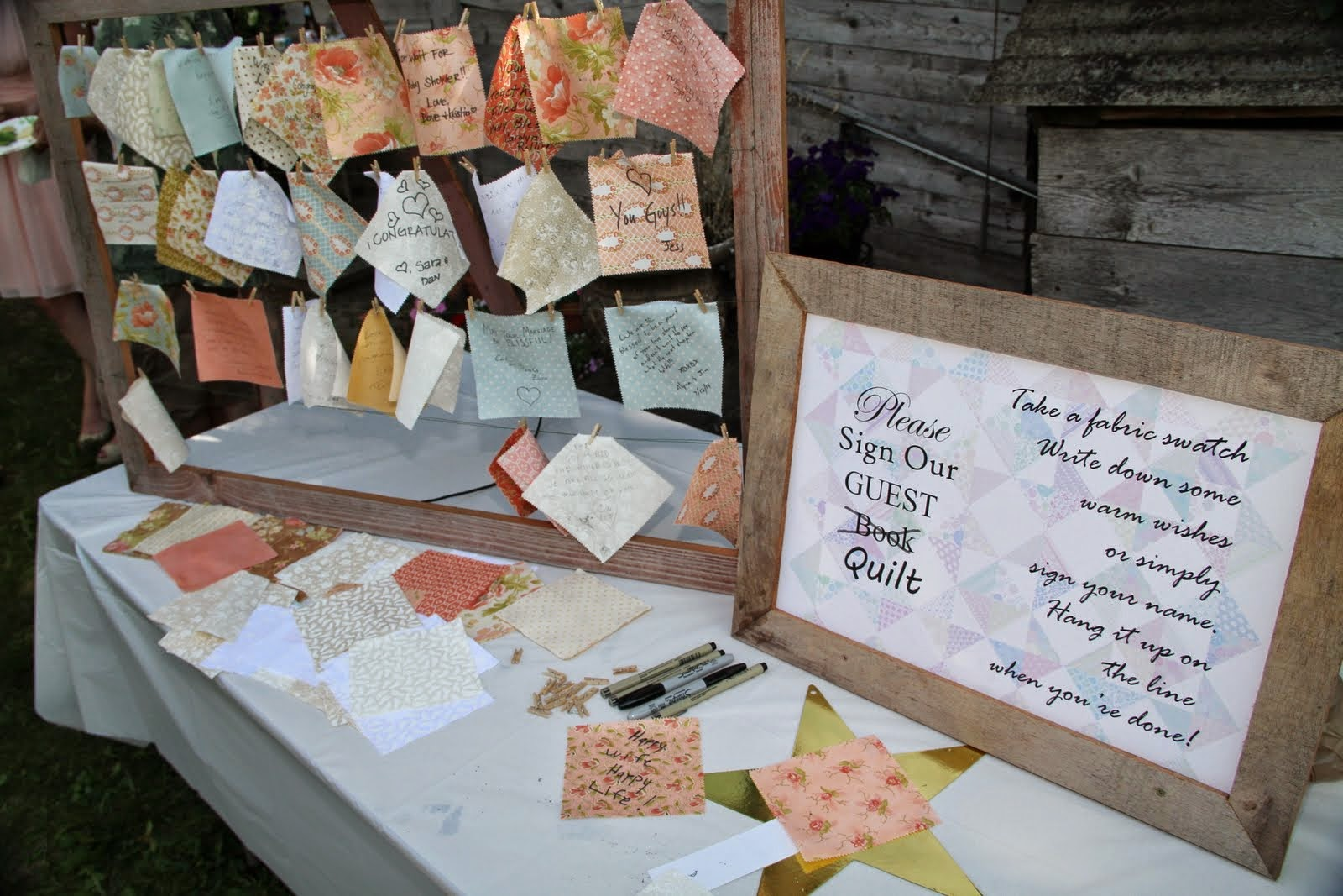 The Last Sign Asked Guests To A Piece Of Fabric That Would Be Turned In Quilt I Love How Bill Used Graphic For Background