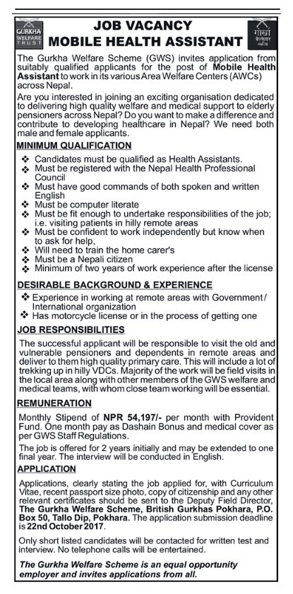 Attractive Job Vacancy for Health Assistant