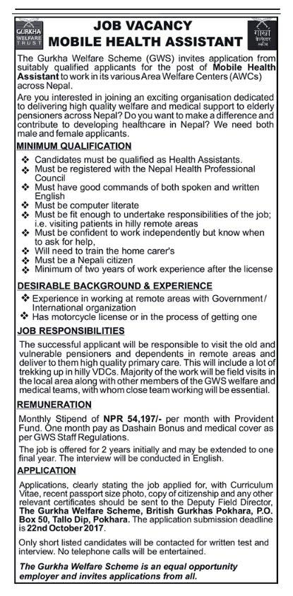 Attractive Job Vacancy for Health Assistant
