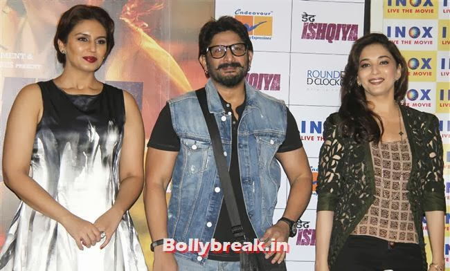 Huma Qureshi, Arshad Warsi, Madhuri Dixit, Madhuri & Huma at Dedh Ishqiya Press Meet