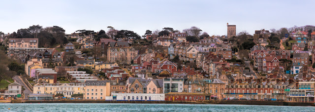 Panoramic image of architecture along Swanage seafront