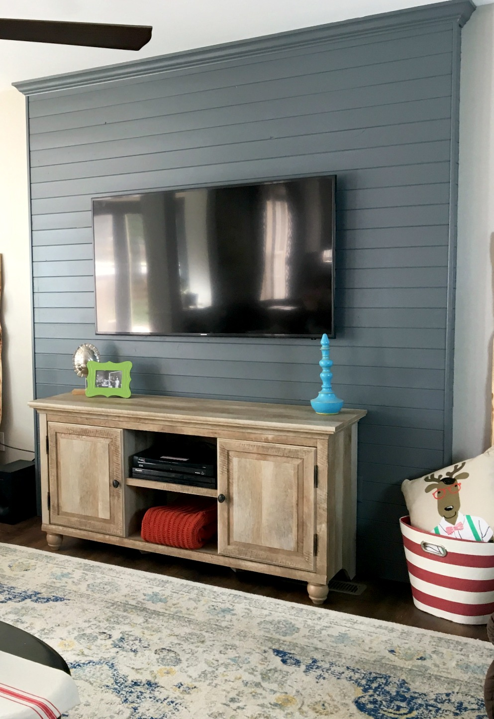 breaking up TV wall with faux accent wall