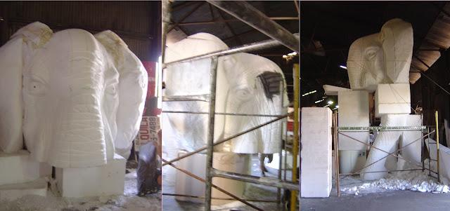 escenografia para stands, escultura telgopor, talla en telgopor, imitaciones de animales