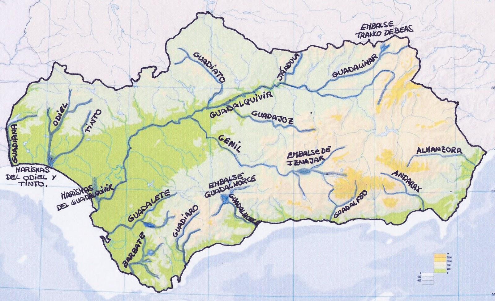 Mapa De Andalucía Físico.Tercer Ciclo La Hidrografia De Andalucia