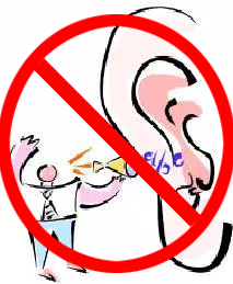 Clip art of a man making noise in an ear with a big no circle