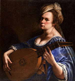 Artemisia Gentileschi: a self-portrait as a lute player painted in around 1615-17