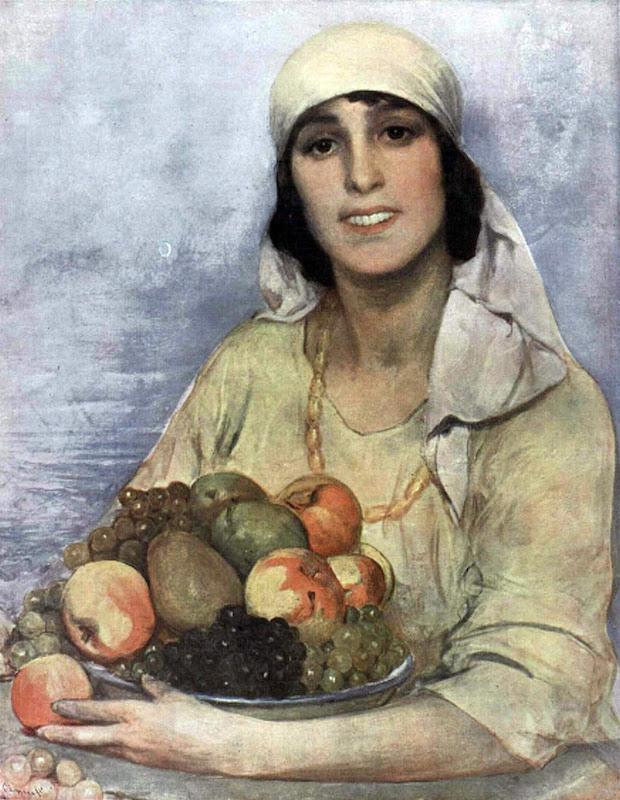 Retrato con cesta de fruta, Anselmo Miguel Nieto, Retrato Femenino, Anselmo Miguel Nieto, Pintura Española, Pintores Españoles, Pintor Anselmo Miguel Nieto, Pintor Español, Retratos de Anselmo Miguel Nieto