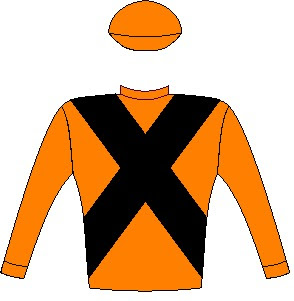 Abashiri - Silks - Vodacom Durban July 2016 - Orange, black crossed sashes, orange sleeves and cap