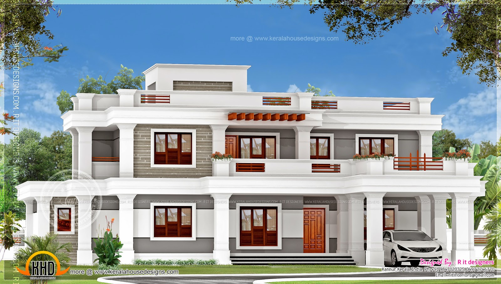 January 2014 kerala home design and floor plans for Kerala home design flat roof elevation