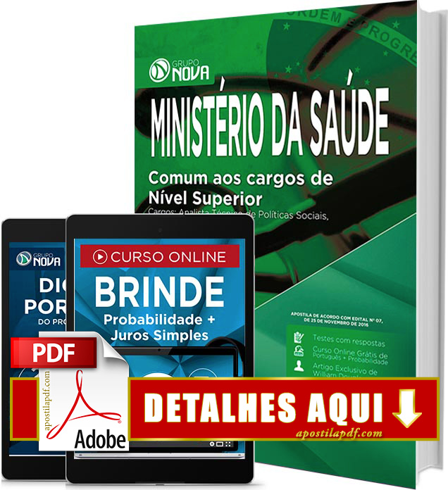 Apostila Ministério da Saúde 2017 PDF Impressa Administrador e Contador