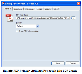 Bullzip PDF Printer, Aplikasi Pencetak File PDF Gratis