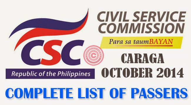 CARAGA Civil Service Exam Results October 2014- Paper and Pencil Test List of Passers
