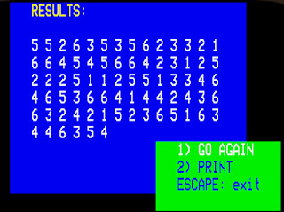 50 different numbers from 1 to 6 from the OneSwitch number generator. For a BBC Micro but available on-line now.