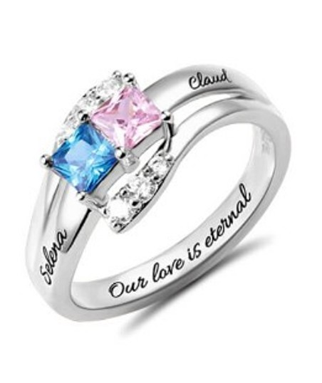 Custom Engraved Two Birthstones Ring Sterling Silver (Price: $ 39.95)