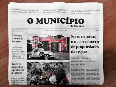 """Capa do jornal """"O Município de Socorro"""" de 13 de abril de 2018, comprado na Papelaria Peretto."""