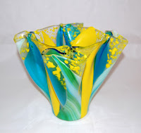 Yellow, blue and green fused glass vase