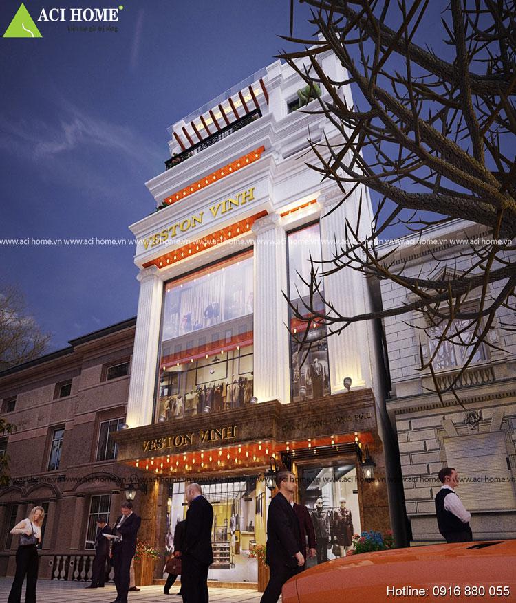 Mẫu thiết kế nhà phố kiểu Pháp tiện kinh doanh