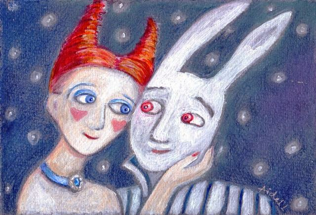 #AideLL #Aideleit #whiterabbit #kiss #illustrationes #art #love #starrynight #starrysky