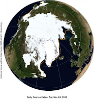 This NASA Blue Marble image shows Arctic sea ice extent on March 24, 2016. (Credit: National Snow and Ice Data Center/NASA Earth Observatory)  Click to Enlarge.