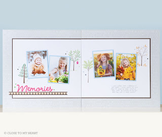 Fall trees CTMH stamp set Scrapbook layout