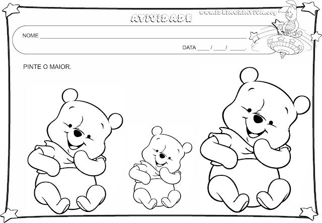 16 Atividades para trabalhar, cores, conceitos , número 1 e desenho livre com turma do Ursinho Pooh
