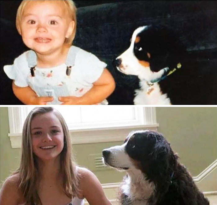 30 Heart-Warming Photos Of Dogs Growing Up Together With Their Owners - A Girl And Her Dog