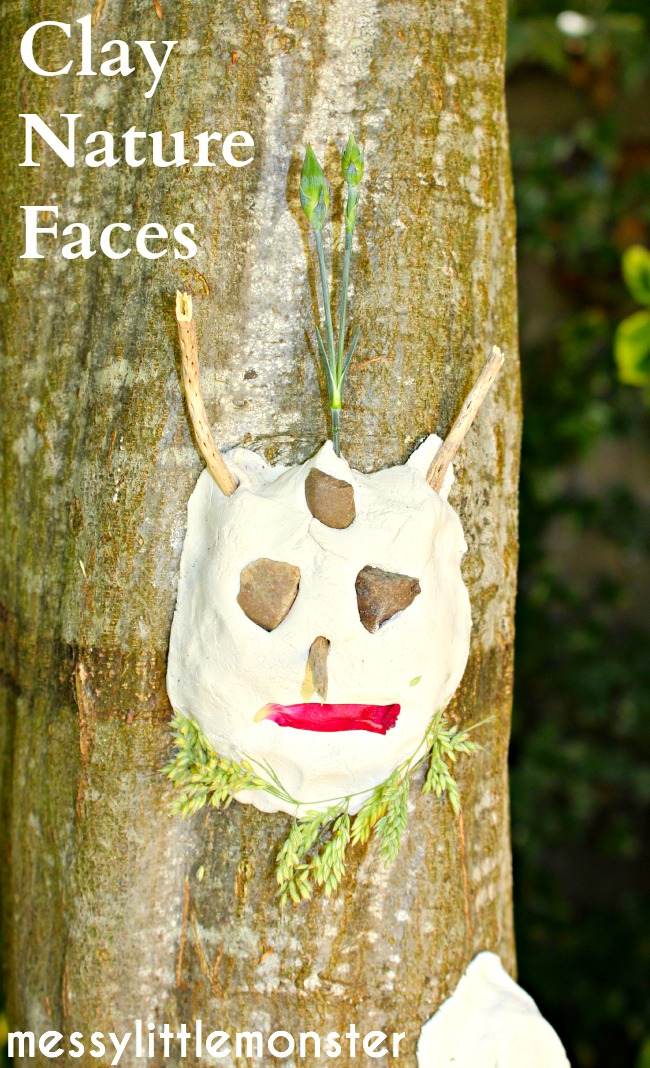 Clay nature faces on trees: Outdoor art sculptures