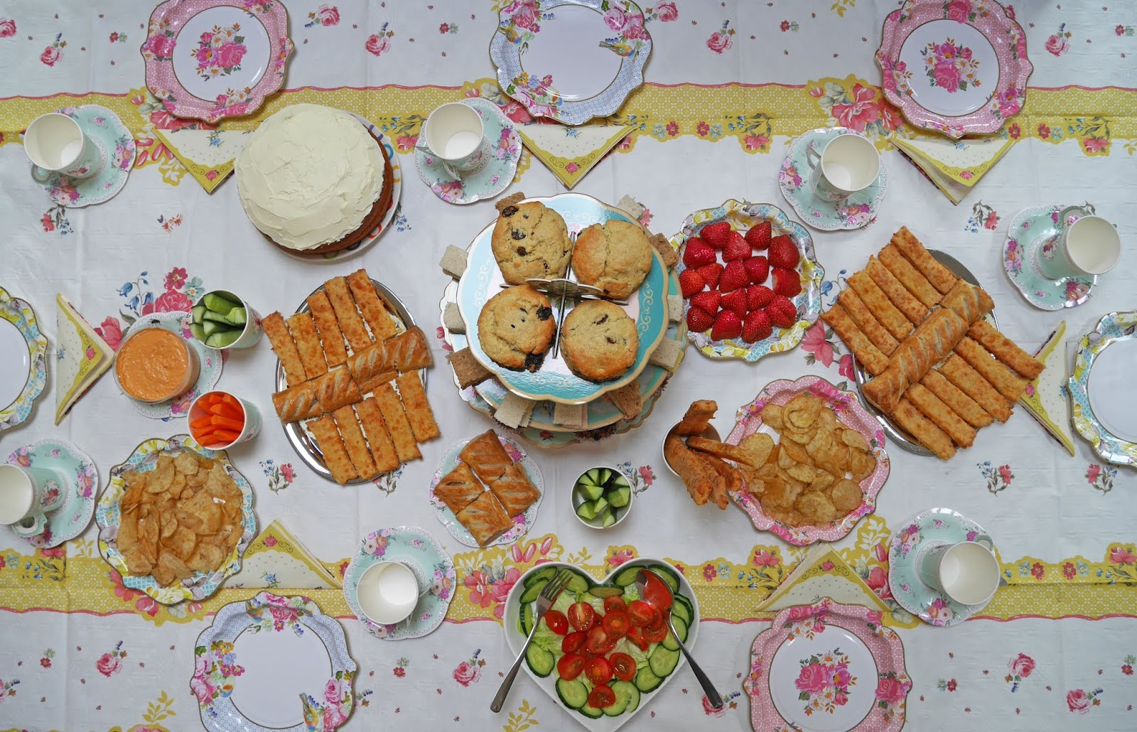 Talking Tables Truly Scrumptious afternoon tea table layout