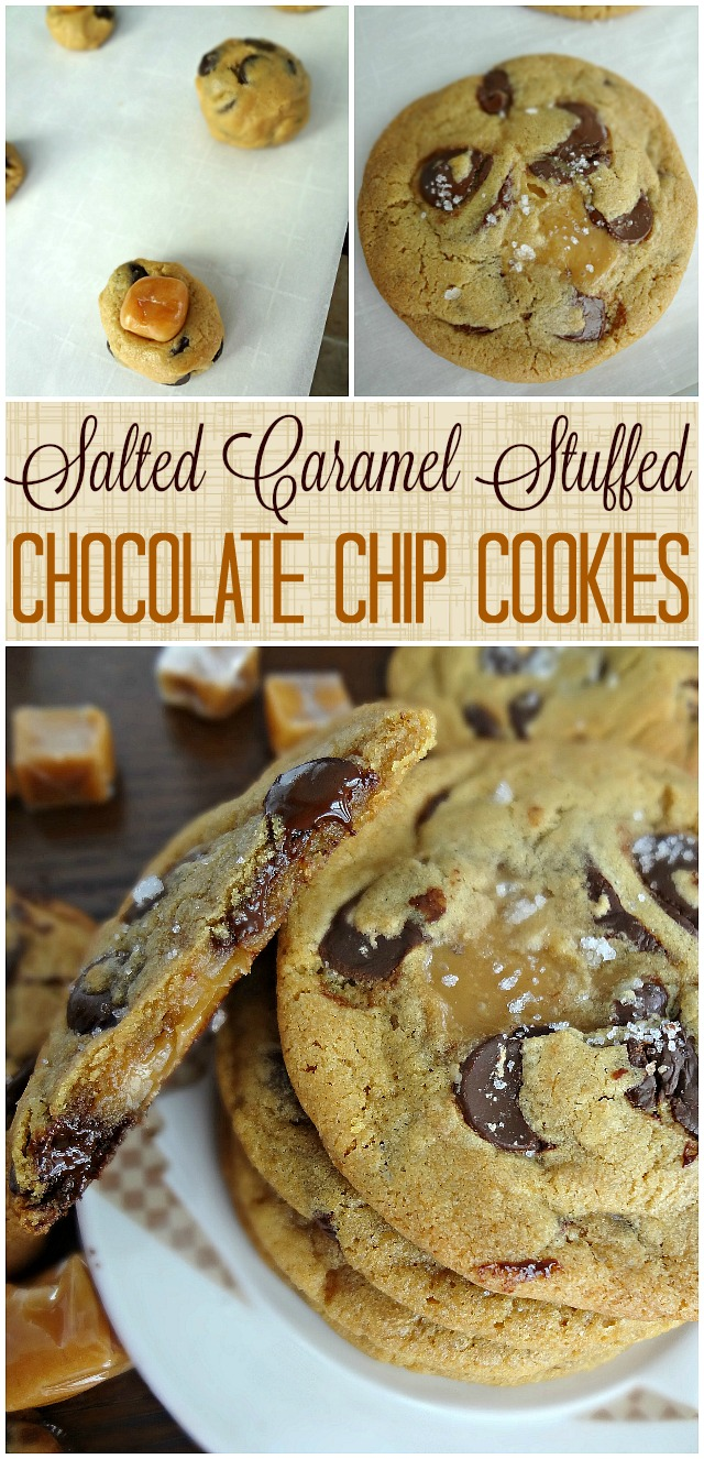 Salted Caramel Stuffed Chocolate Chip Cookies