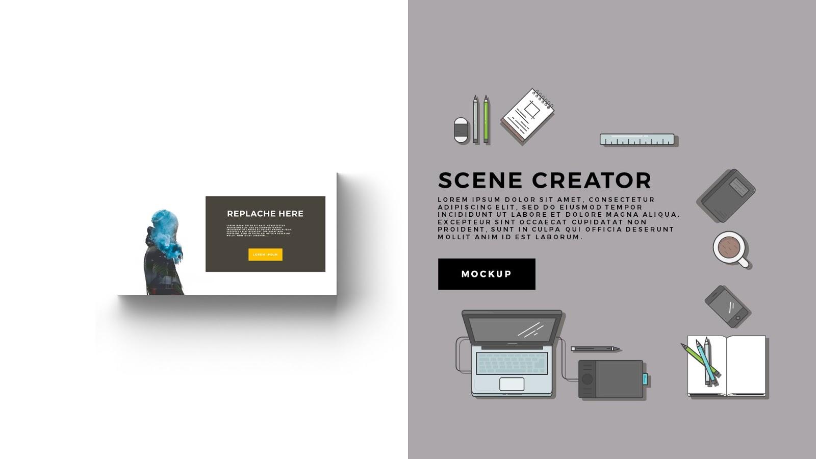 Desktop Scene Creator Free Powerpoint Template - Infographicon