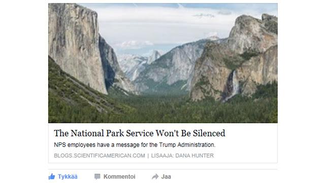 """Kuvakaappaus otsikosta """"The National Park Service Won't be Silenced"""" ja kuva Yosemite Valleystä"""