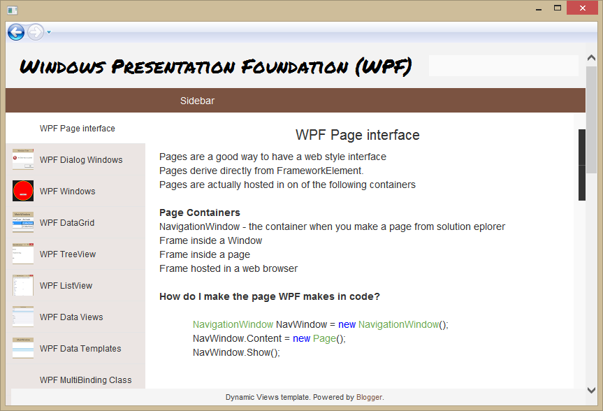 WPF Page | Windows Presentation Foundation (WPF)