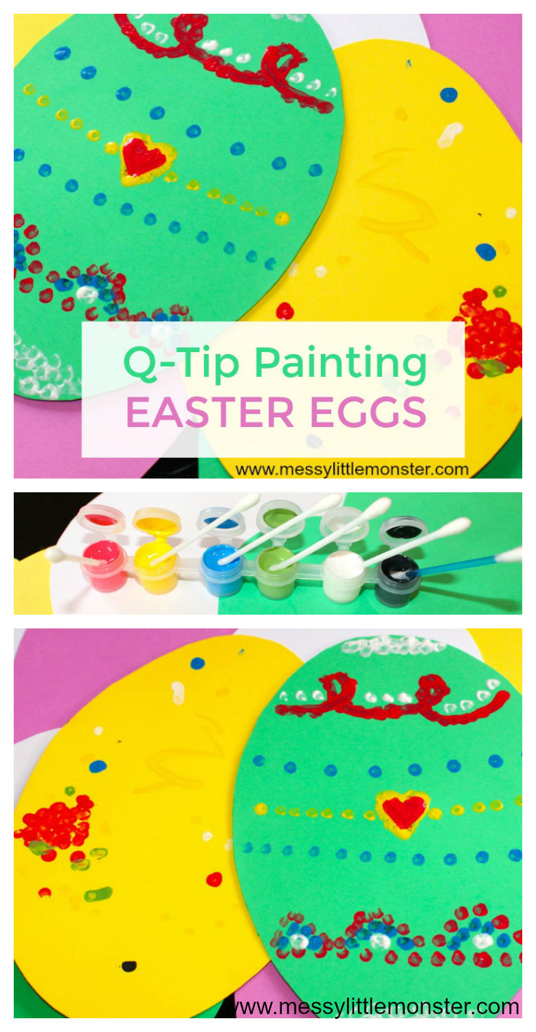 Q-Tip (cotton bud) painting Easter egg craft for toddlers and preschoolers. Enjoy using this fun painting technique to create Easter cards or an Easter garland.
