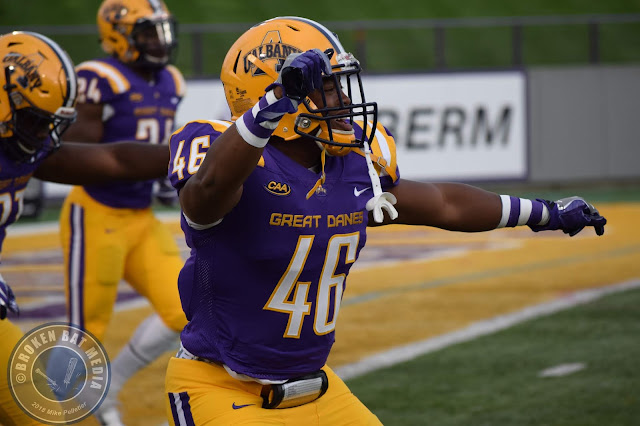 College Football Photos: St. Francis (PA) Red Flash @ UAlbany Great Danes, September 22, 2018, Ford Field, Albany, NY