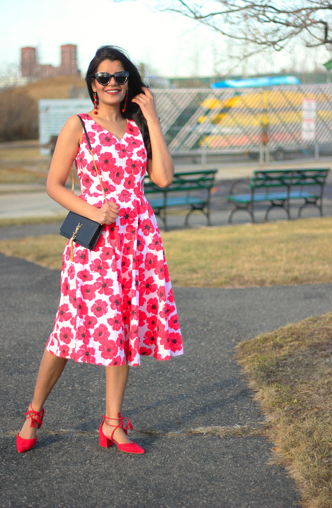 eShakti Hibiscus Print Dress, Red Floral Dress, Spring Dress For Garden Party, Kate Spade Dress Lookalike, Valentine Day Dresses, Saint Laurent Kate Tassel Bag, YSL Monogram Wallet On Chain