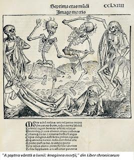 """""""A şaptea vârstă a lumii: Imaginea morţii,"""" din Liber chronicarum"""