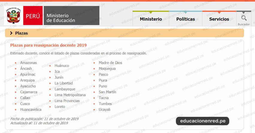MINEDU publicó Plazas para Reasignación Docente 2019 (DESCARGAR LISTA) www.minedu.gob.pe
