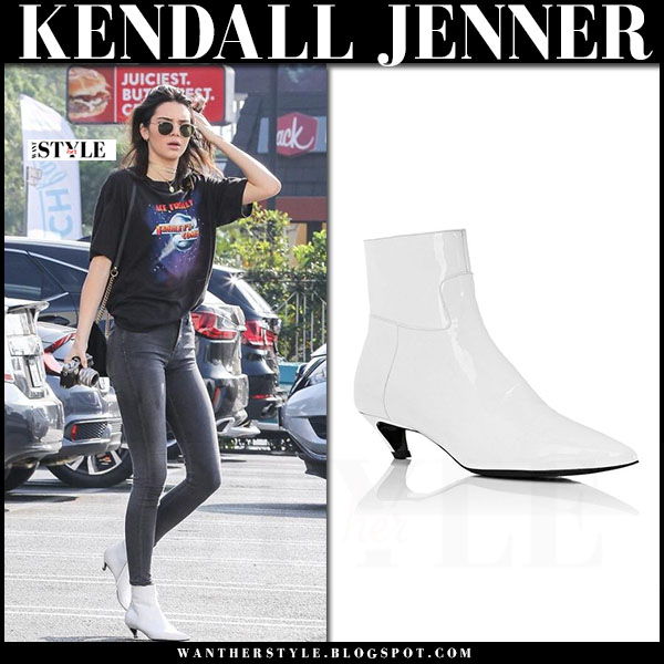Kendall Jenner in white patent leather ankle boots balenciaga broken heel what she wore