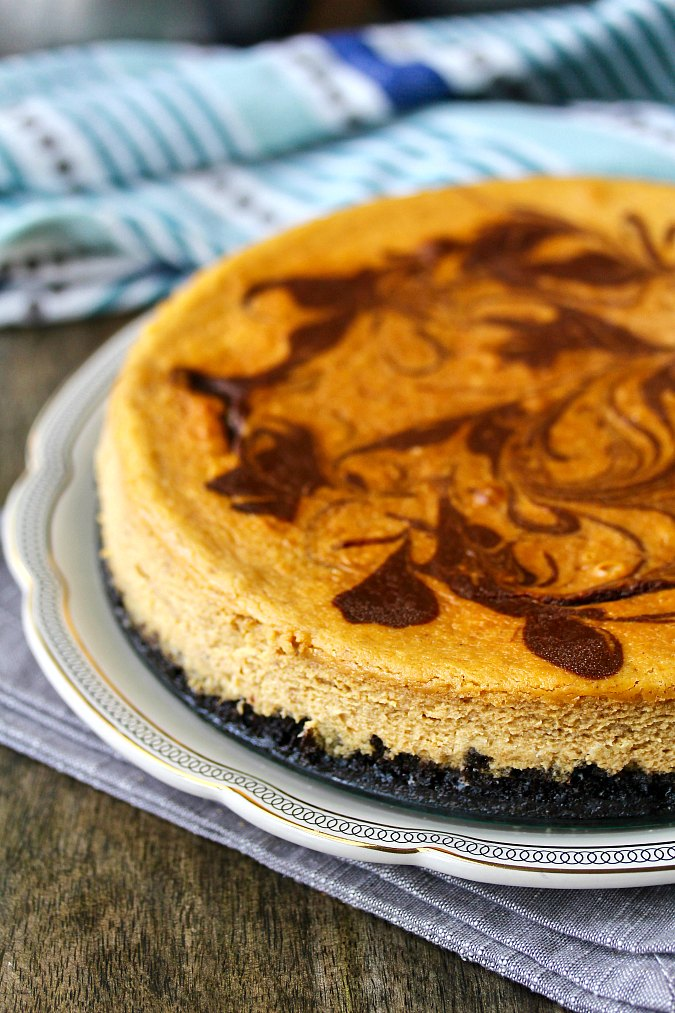 Chocolate-Swirled Pumpkin Cheesecake with a chocolate crust