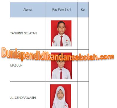 Format pengisian data siswa kelas VI untuk Ujian Nasional