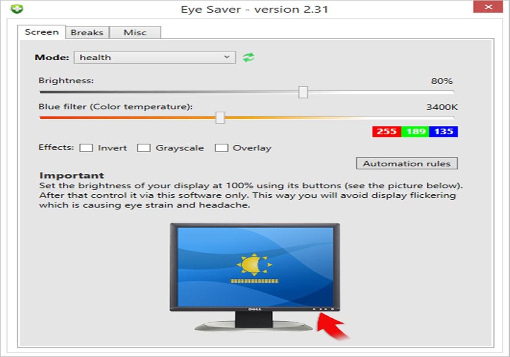 تحميل برنامج الحفاظ على العين من أشعة شاشة الكمبيوتر الضارة Eye Saver