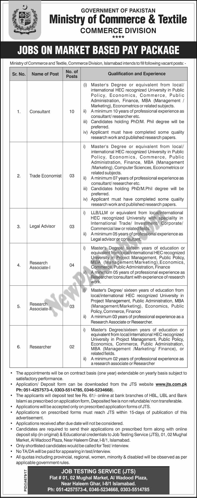 JTS Jobs in Ministry of Commerce and Textile