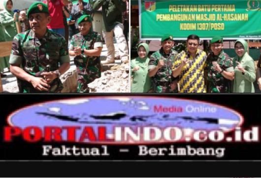 Di Sulteng Kodim Poso Bangun Mesjid Senilai Rp 300 Juta,Danrem 132/Tadulako Kolonel Inf Agus Sasmita Meletakan Batu pertama